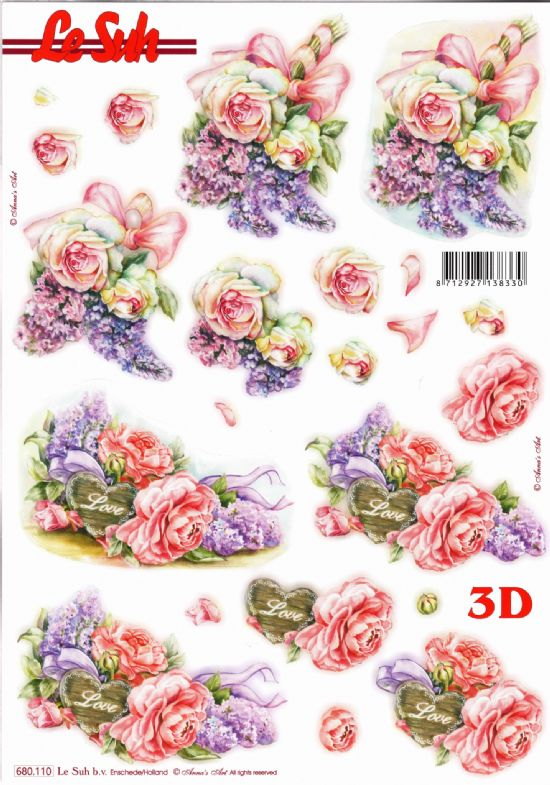 Rose & Lilac Bouquets Die Cut 3d Decoupage Sheet From Le Suh - NO CUTTING